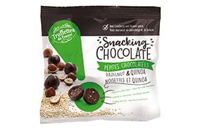 Snacking chocolate, pépites de chocolat noir, quinoa et noisette
